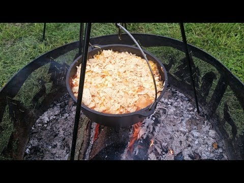 Beef Enchilada Casserole in my Lodge Dutch Oven – Cast Iron Camp Cooking