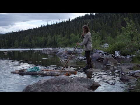 Making a permanent bushcraft camp – raft without nails or rope  – [part 2 – long version]