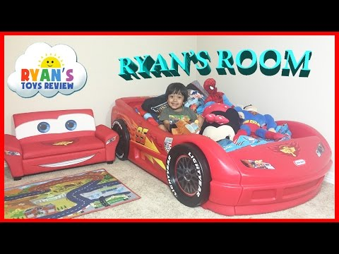 Ryan's Room Tour Disney Pixar Cars Lightning McQueen Theme Bedroom