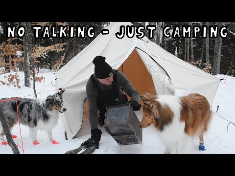 Winter Hot Tent Camping with My Dogs (NO TALKING – JUST CAMPING)