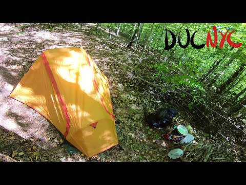 building a tent, setting up, settling in – Solo Overnight at Moto Camping Club HQ Pt.1 v1143