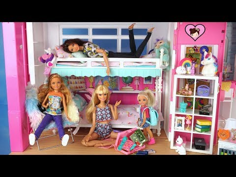 Barbie Unicorn Bedroom Morning routine – Packing for Summer Sleepaway Camp